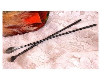 Shiny Leaf Forged Hair Sticks