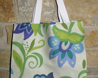 Handmade All Purpose Blue Floral Tote-N-Go