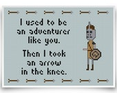 Skyrim Cross Stitch Pattern - Geeky Adventurer Quote