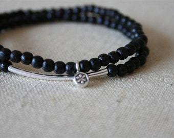 black stacked lotus bracelets //