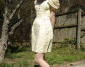 REDUCED Vintage 80's Cream Lace Mini Dress Puff Sleeves Bridal Bridesmaid Dress Size XS, Small
