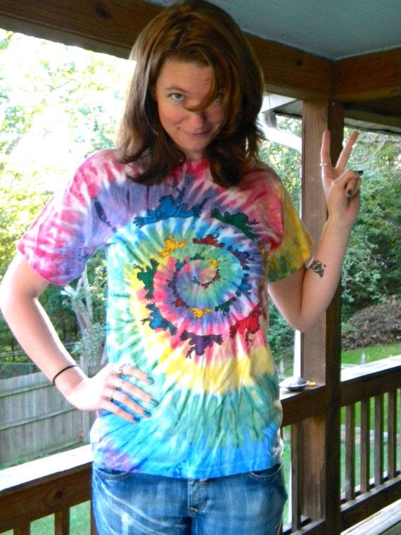 SALE Vintage Peace Frogs Tshirt Tie dye Tee 90's Colorful Size Medium
