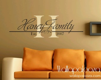 Family Name Monogram Family wall decal Family wall art Custom wall decor Monogram Home decor Family wall decor
