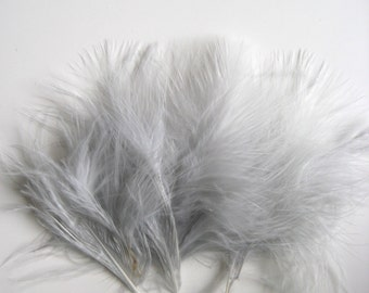 Grey Itty Bitty Marabou Feathers / 10 feathers