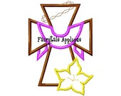 Digital Machine Embroidery Design -  Easter Cross Applique