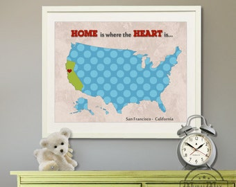 """Kids wall art USA MAP  Poster Print 11""""x14"""" , Colorful Personalized Map Art for Children, Nursery art"""
