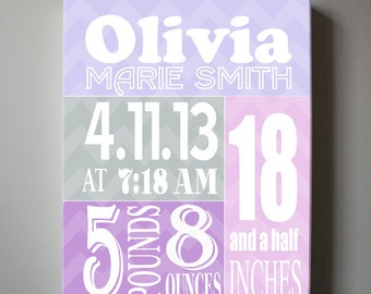 Baby Birth Announcement Canvas Print, Girls Nursery Canvas Art , Personalized Wall Hanging, Girls Room Decor