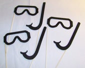 Photobooth Props Glasses Snorkel prop On a Stick Wedding Party Photo Booth Prop Kit 6 Pieces
