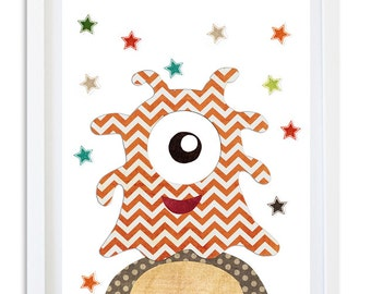 Alien Nursery print, Outerspace Decor, Nursery art, Kids room wall art, Nursery print - Little Orange Alien