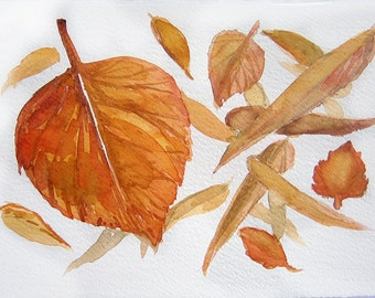 Watercolor painting. Art original. Autumn leaves on watercolor