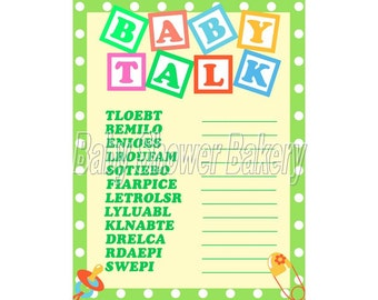 Green Baby Shower Game, Gender Neutral Baby Shower Game, Baby Word Scramble, Green Theme Baby Shower, Instant Download Printable Baby Shower