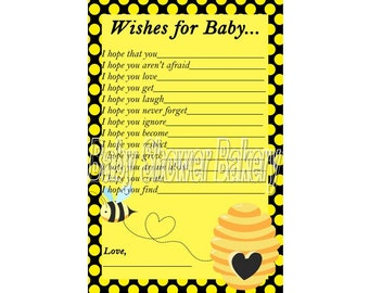 Bumble Bee Baby Shower Game, Wishes for Baby Card, Bumble Bee Shower Printable, Instant Download Baby Wishes