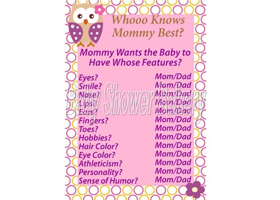 Printable Owl Baby Shower Game, Who Knows Mommy Best Game, Instant Download Owl Baby Shower Game, Girl Owl Baby Shower Game