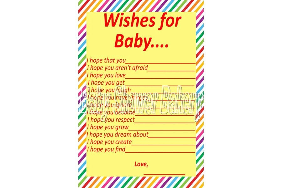 wishes for baby rainbow baby shower game by babyshowerbakery