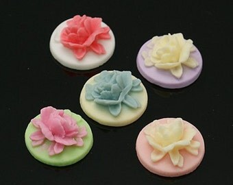 2PC Resin Rose Cameo Cabochon 18mm -- You Choose Color