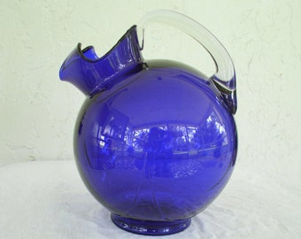 1930's Cambridge Cobalt Blue Glass Tilt Ball Jug Pitcher
