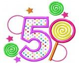 Lollipop Birthday Applique Design Numbers 1 - 9  INSTANT DOWNLOAD