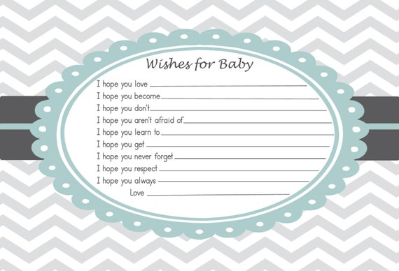 items similar to baby shower advice card wishes for the baby digital file printable on etsy