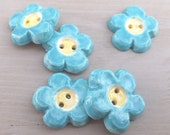 Handmade ceramic turquoise flatback embellishment flower buttons teal and yellow