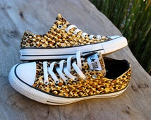 SALE Leopard Cheetah Studded Converse - Studded Chucks Converse All Star Sneakers Rare Gold Studded Plimsolls Shoes Gift Idea for Her Tumblr