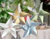 Polka Dot Tea Party Pinwheels : Blue, Pink, Yellow and Green