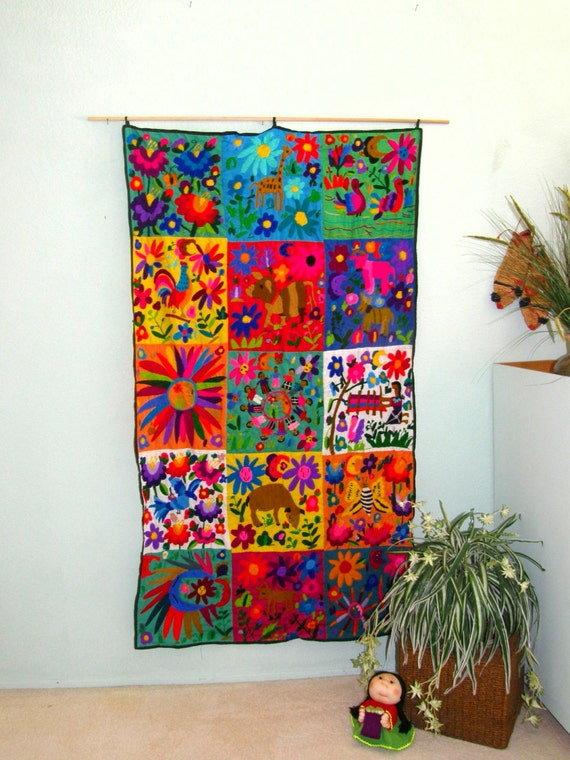 Mexican Wall Hanging Decor : Hand embroidered mexican wall hanging