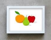 kitchen wall art, Food print, fruits art print, kitchen art print, orange, pear, apple print, fruit print