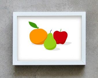 kitchen wall art, Food print, three fruits art print, kitchen wall art print, orange, pear, apple print, fruit home deco, wall decoration