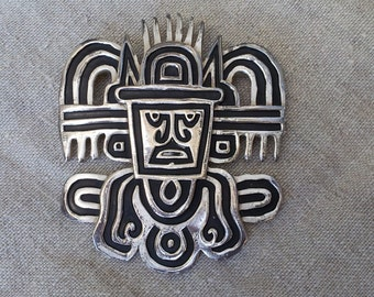 CROWN TRIFARI Vintage Pendant / large Brooch Mayan Aztec Style / Silver and black large Trifari pendant/ SALE costume jewelry