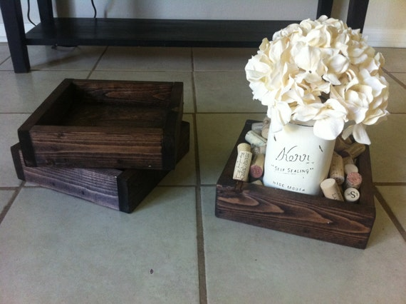 Rustic wood wedding centerpiece square box white by lilykayy