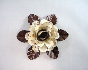 Medium Size Decorative Metal Hand Cut and Hand Painted Rustic Cream Color, Antique White Color Rose Mounted on a Bed of Leaves.