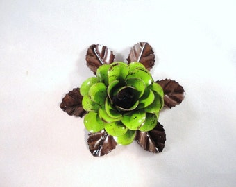 Medium Size Decorative Metal Hand Cut and Hand Painted Rustic Lime Green Color Rose Mounted on a Bed of Metal Leaves.