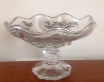 Vintage Etched Glass Silver Rimmed Candy Dish