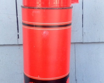 Vintage Aladdin Red Retro Starburst Thermos