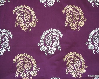 Paisley Block Printed Indian Cotton Fabric in Purple Color by Yard