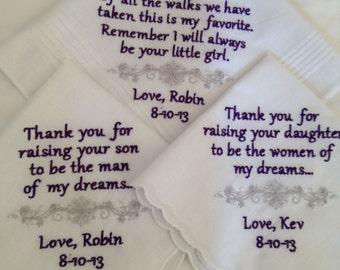 gift set of three wedding personalized handkerchiefs father of bride mother of bride mother of groom