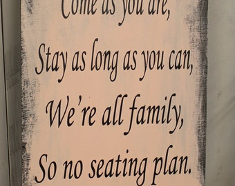 "Wedding signs/ Reception tables/Seating Plan/ ""Come as you are, Stay as long as you Can, We're all family, So no seating plan/Blush"