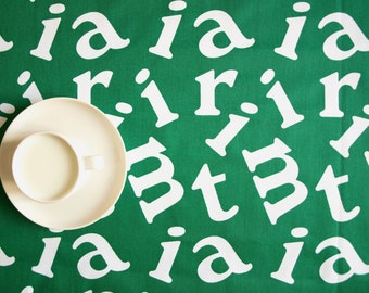 """Tablecloth green white fun letters 37""""x56"""" or made to order your size, also  curtains available, great GIFT"""