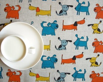 """Linen tablecloth natural grey colorful funny dogs Eco Friendly 37""""x37""""or order your size, table runner napkins pillow available,eco GIFT"""