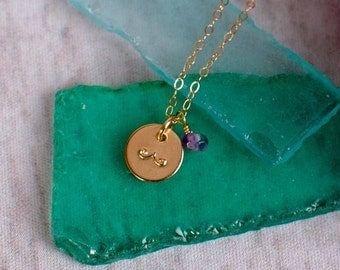 Moustache Necklace - Small Gold Filled Disc with a Mustache and Amethyst or Stone or Birthstone of your choice
