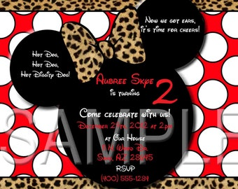 Red Cheetah Minnie Mouse Invitations OR Thank you card