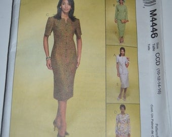 McCall's 4446 Misses Lined Jacket, Lined Dress and Skirt Sewing Pattern - UNCUT -Size 10 12 14 16