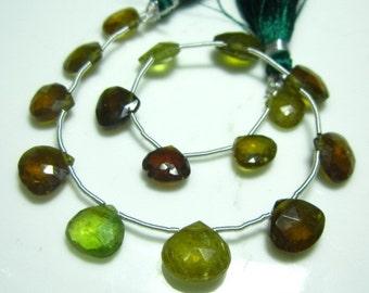 "AA-Multi Green Brown Garnet Faceted Heart Briolette- 8"" Strand -Stones measure- 9-11mm"