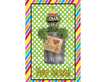 Oscar the Grouch/Sesame Street Inspired Birthday Sign- Customized Digital File