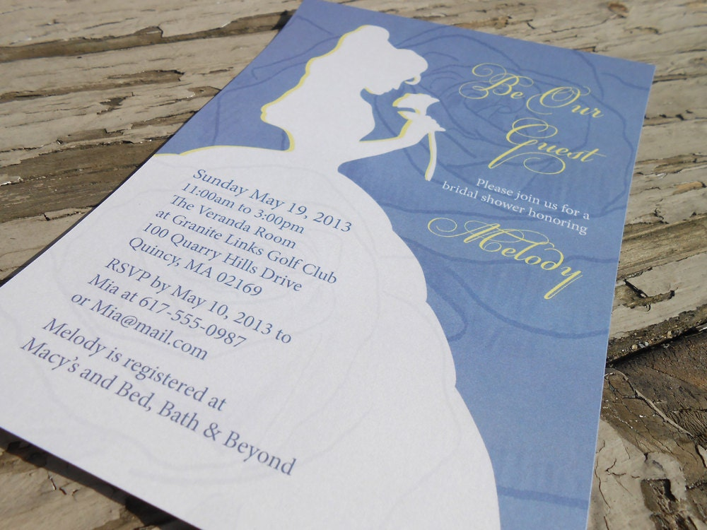 Beauty And The Beast Themed Wedding Invitations: Disney Beauty And The Beast Belle Bridal Shower Invitation