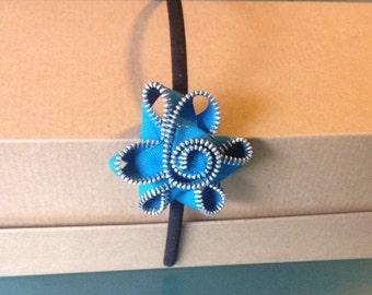 Turquoise Zipper Headband