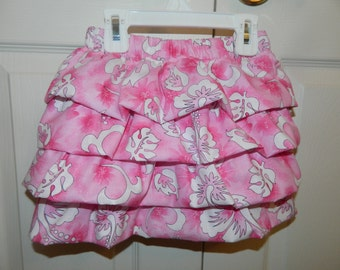 Pink and White Hawaiian Floral Themed Ruffled Infant/Toddler Skirt