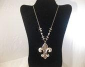 Large Fleur De Lis Necklace With Long Chain and Smaller Fleur De Lis
