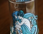 Vintage Juice glass Aquarius zodiac sign by KMA made in 1976