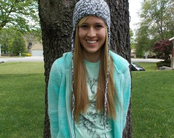 Cozy Gray and White Earflap Hat
